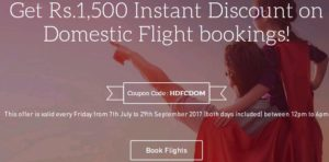 Makemytrip- Get upto Rs 1,500 Instant Discount on Domestic Flight bookings via HDFC Credit card