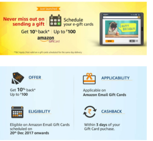 10% Cashback upto Rs.100 on Email Gift Cards + Now You Can Schedule Gift Card Too.