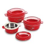 Amazon- Buy Cello Cuisine Insulated Plastic Casserole Gift Set, 3-Pieces, Mop Red at just Rs 484 only