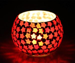 Buy Craft Junction Handmade Mosaic Glass 1 - Cup Tealight Holder Set (Multicolor, Pack of 1) for Rs.96 only