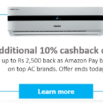 Amazon – Get upto Rs.2500 back as Amazon pay balance on AC brands