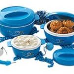 Amazon- Buy Cello Cuisine Plastic Casserole Gift Set, 3-Pieces, Blue at Rs 489