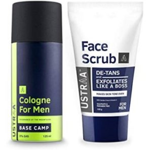 Ustraa Cologne Spray - 100 ml and Face Scrub - 100 g