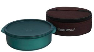 Signoraware Papad and Chapati Box with Bag, 2.2 Litres, Forest Green
